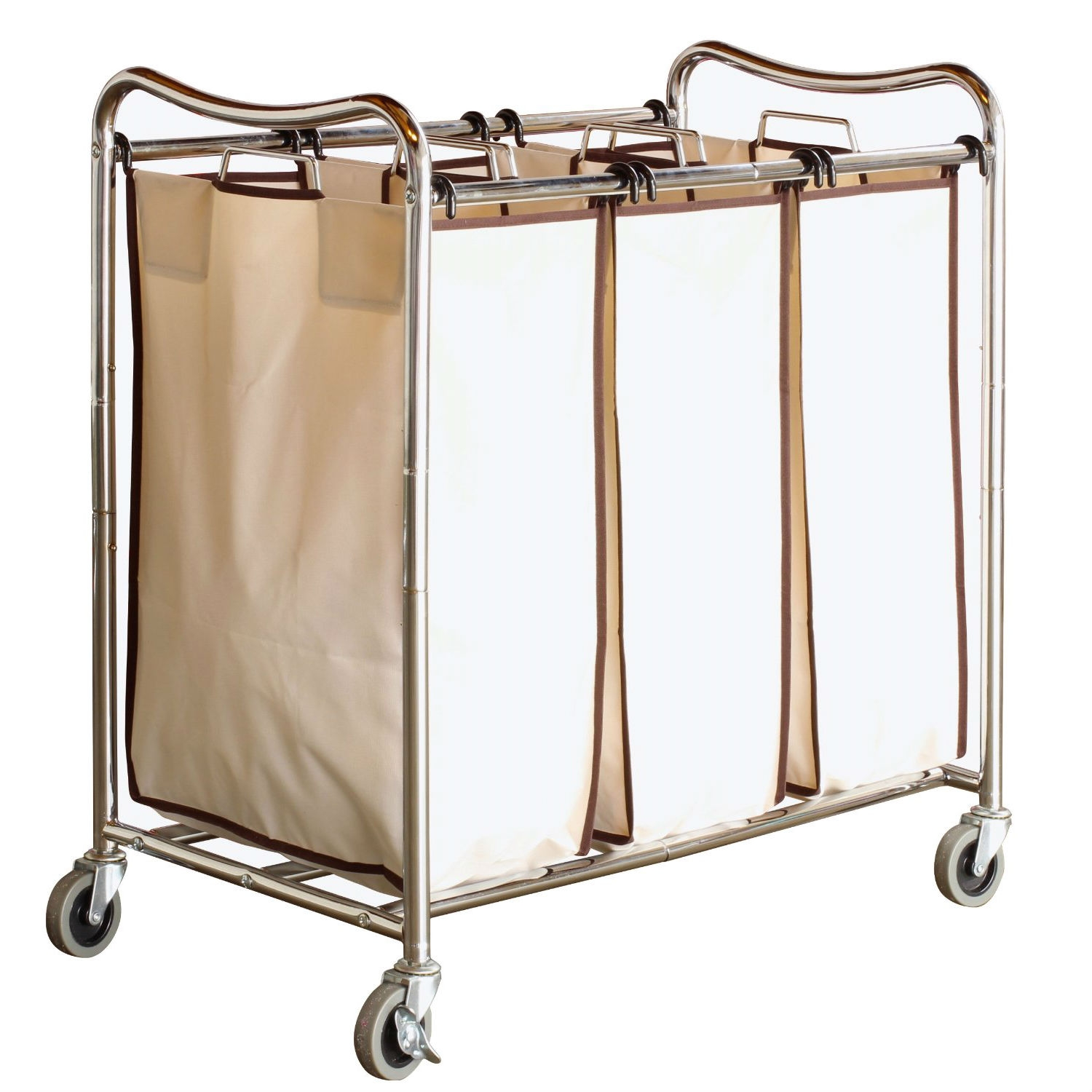 Heavy Duty 3-Bag Laundry Hamper Cart with Lockable Wheels, DBH466715 :  This Heavy Duty 3-Bag Laundry Hamper Cart with Lockable Wheels help you to sort different types, color of clothes. Each bag made by 100% canvas bags.