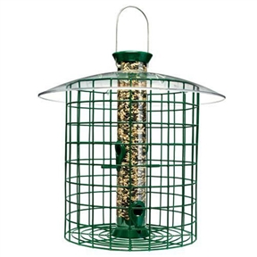 "Wild Bird Feeder with Domed Cage in Green, DYGWB7219 :  This Wild Bird Feeder with Domed Cage in Green is both effective and attractive. Combines a very popular tube style feeder with an 8"" diameter green wire cage that allows songbirds easy clearance through the 11/2"" openings. Keeps squirrels and large birds away from the seed. The tube is easy to remove for cleaning to maintain the health of the birds. 15"" long x 8"" wide. Great gift idea,"