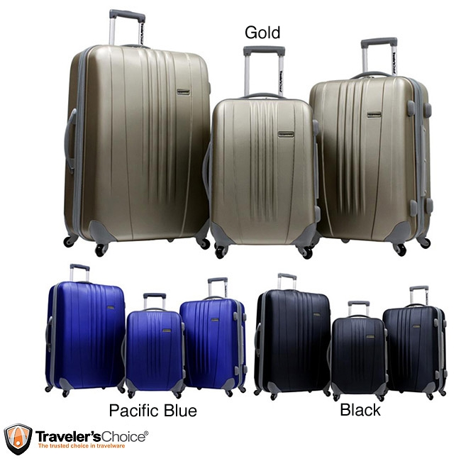 3-Piece Hard-side Expandable Spinner Luggage Set,  TCT3PHESL1499 :  With this 3-Piece Hard-side Expandable Spinner Luggage Set Travel in style with this hard-shell luggage set from Traveler's Choice. These suitcases feature adjustable handles, smooth wheels and a scratch-resistant finish. Materials: ABS hard shell with a scratch-resistant finish; Shell flexes to absorb impact and returns to original shape; Adjustable handle system with push-button locking; Four-wheel spinner system for effortless, smooth gliding; Fully lined interior; Multi-use organizational pocket for easy packing; Pocket doubles as a divider to keep items secured; Elastic tie-down straps; Expandable for up to 25-percent additional capacity; Reinforced top and side carrying handles; Riveted hinge for extra durability; Color-coordinated hardware.