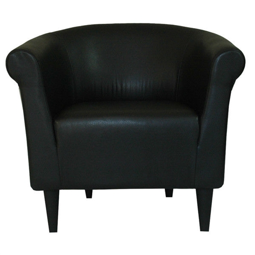 Classic style elements with a contemporary twist make this Contemporary Classic Black Faux Leather Upholstered Club Chair a great addition to almost any room. The Contemporary Classic Black Faux Leather Upholstered Club Chair is made with quality, comfort and contemporary style in mind. Embellish your room with the clean lines and contemporary materials. Made in the USA; Chair Design: Club chair; Removable Seat Cushion: No; Style: Contemporary; Frame Finish: Black.