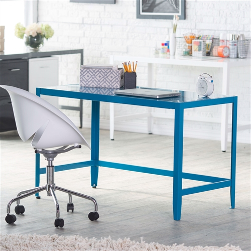 This Simple Modern Metal Office Desk in Teal Blue Finish will bring just the right amount of interest and function to your work space. Available in your choice of industrial favorite or eye-catching vivid colors, this desk features clean lines and an understated size for small, on-trend office spaces. This desk is built to last in powder-coated solid metal. Some assembly is required. Consider adding a matching, or contrasting Simple Modern Metal Office Desk in Teal Blue Finish with Simple Modern Design, which easily tucks beneath this desk for convenient storage.