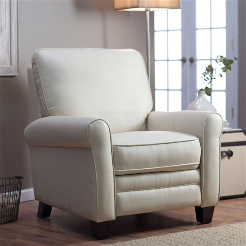At first glance, this Soft Cream Bonded Leather Upholstered Club Chair Recliner with Espresso Legs doesn't appear to be a recliner at all. Its sleek transitional style paired with its smooth, creamy bonded leather upholstery and espresso-finished legs will have everyone fooled. But alas, the no-sag sinuous springs and easy-to-use push-back recline feature will surely give it away. A plywood frame with strong mortise and tenon construction promises years of comfortable moments spent conversing, reading, napping, and the like. Plywood frame; mortise and tenon construction; No-sag sinuous springs for lasting comfort; Assembly Required; Color Stagecoach-Cream.
