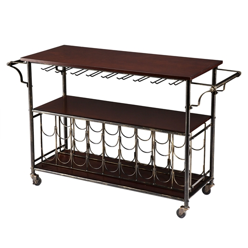 Serve wine in style with this Wood Top Kitchen Island Wine Rack Cart with Storage Shelf . It features a wine storage rack that holds 18 bottles and lets you display your fine wine selection. It also includes 9 hanging glass racks that can accommodate around 18 to 22 glasses. It is finished with black and gold. It features a top shelf and a middle shelf for you to store your kitchen essentials and other display items. It rests atop smooth-rolling casters, which offers easy mobility. This Wood Top Kitchen Island Wine Rack Cart with Storage Shelf also has sturdy handles for maneuvering. This kitchen cart is a wonderful addition to any home.