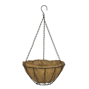 12-inch Classic Metal Hanging Planter Basket in Black, HMP5495158 :  Give your porch or deck a fresh appearance with this 12-inch Classic Metal Hanging Planter Basket in Black. It provides a comfortable environment for your plants and keeps them healthy. This hanging planter can be used to keep your favorite flowers, ferns, or different kinds of herbs. Made with metal, this hanging planter ensures functionality for years to come. It is available in different colors and sizes, which you can choose from according to your requirements. It is power coated and is rust resistant, ensuring long lasting utility. Perfect for floral display, this hanging basket is an ideal addition to your porch, patio, or deck. Color: 1: Green; Color: 2: Black; Color: 3: White; Shape: Circle; Country of Manufacture: China.