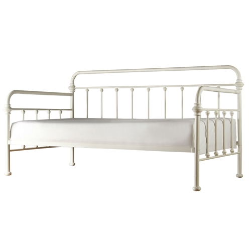 This Twin size Contemporary Classic Style White Metal Daybed would be a great addition to your home. Please note other items that may be shown in this photo are not included, only the daybed is included. Mattress is not included, please purchase separately. The recommended thickness for the mattress for the daybed is according to customer preferences; We do not recommend the use of a trundle underneath this bed; Style: Contemporary; Frame Material Details: Metal tubing; Finish: Antique White; Country of Manufacture: China