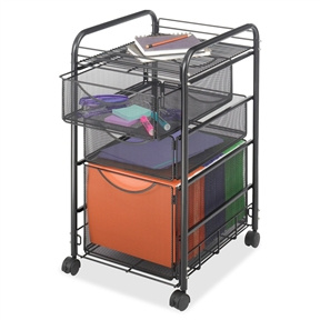 This Black Metal Steel Mesh Mobile Filing Cabinet Cart with 2 Drawers and Wheels creates practical filing and supply organization. The letter-size file cube keeps hanging files and folders easily accessible, while the two storage drawers above hold office supplies, from pencils to paperclips. It also works as art supply organization, organizing crafting supplies and classroom supply organization. Its top shelf stores additional filing and office supplies. Stores conveniently under desks, counters or work surfaces when not in use and is easily transportable on four swivel wheels, with two that lock in place.