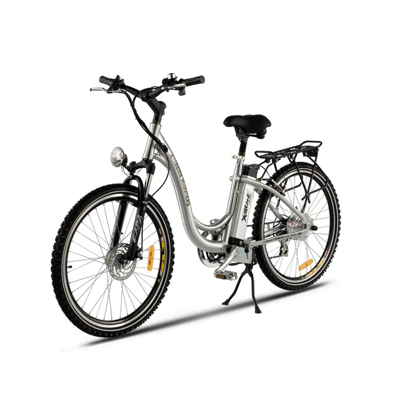"X-Treme Scooters XB-305Li Step Through Lithium Electric Bicycle, XB-305LI :  The XTreme Scooters XB-305Li Electric Bicycle is a Lithium Battery powered electric mountain bike, running on a 300 Watt rear hub motor. Made with all top of the line components this model includes a 7 Speed Shimano Tourney® Gears & Shifter System, 7 Lightweight Lithium Ion Batteries, a 100% Aluminum Alloy Frame, fully Adjustable Seat, and an RST Capa® T7 front fork. Motor Type : Brushless Hub Motor - Motor is in center of rear wheel; Amps: 8 AMP Circuit (7 Batteries at 8 AMP's each); Volts: 24 Volts (Each Battery Is 3.6 Volts); Batteries: 7 - Lightweight Lithium Batteries In A Sealed Removable Pack; Tire Size: 26"" x 1.95"" on Aluminum Wheels; Charger: Smart Charger Included; Tool Kit: Included; Speed: 20 MPH; Distance: Up to 20 - 25 miles per charge - can still pedal if charge is lost; Throttle Type: Variable Speed Control - Twist Throttle - or - Pedal & Power Assisted; Key Start: Yes; Frame Type/Size: 100% Aluminum - Very Light Weight / 18""; Storage Areas: Large area below seat + Large trunk + Small area near key; Forks: RST Capa® T7 Front Hydraulic Forks Made (Top Name Brand); Braking System: Front and Rear Brakes; Drive System: Rear Hub Motor (Motor is in rear rim) + Pedal Power; Head Light: Yes; Measurements: Wheel to wheel 60"" - Max Width 25"" - Seat Height 33 1/2""; Horn/Bell Included: Yes; Battery Indicator: Yes; Cargo Rack: Included; Warranty: 90 Day X-Treme Warranty - 1 Year Battery Warranty."