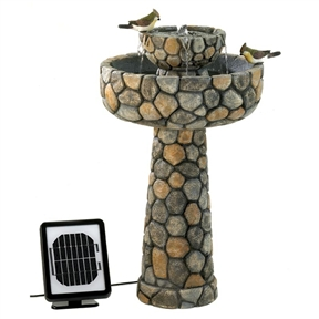 2-Tier Outdoor Cobblestone Solar Powdered Water Fountain, TCSWF152 :  This 2-Tier Outdoor Cobblestone Solar Powdered Water Fountain would be a great addition to your home. It has solar panels for cord-free enjoyment, or an optional electrical plug for shady locations or overcast days. Made of polyresin, stone powder and sand; Elegant faux cobblestone fountain features the convenience of two power options; Grace your garden with romance and the music of flowing water; UL listed; Material Details: 45% polyresin, 49% stone powder, 6% sand; Number of Pumps Included: 1; Power Source: Electricity; Solar UL Listed: Yes; Assembly Required: Yes; Product Warranty: 30 days; Tools Needed: No tools required; Recirculating Pump: Yes. Style: Traditional; Figurine: Birds; Fountain Function: Floor Fountain; Location: Outdoor/Garden; Birdbath: Yes; Pump Required: Yes; Pump Included: Yes; Powered: Yes; Sound Level: Quiet; Number of Spouts: 4; Portable: Yes; Outdoor Use: Yes.