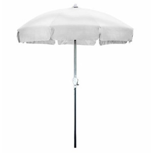 7.5 Foot Patio Umbrella with Push Button Tilt in White Olefin, CU75W5799 :  The 7.5 Foot classic Patio style Umbrella is perfect way to shade yourself from the sun on your patio home or garden. Steel wire Ribs complete a perfect patio style canopy, and the simple Crank open aluminum frame make this vintage design easy to use, it even includes a Push button Tilt feature. White Olefin Fabric color looks great in any space. Aluminum center pole; 8 Steel wire ribs; 7.5' Patio style canopy; Push button tilt; Easy open crank mechanism; Canopy Fabric: Olefin; Canopy Color: White; Canopy Shap: Round.