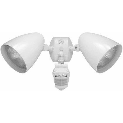 Outdoor Security 2-Light LED Floodlight with 360 Degree Motion Sensor, RASF89951 :  This Outdoor Security 2-Light LED Floodlight with 360 Degree Motion Sensor uses a 150W PAR38 lamp (not included). It accepts 120V input power and has a white cast aluminum housing that is lightweight and corrosion-resistant. This sensor has 360 degrees of view detection downward and 180 degrees of view detection outward for full coverage. The time delay can be set from 5 seconds to 12 minutes. It has three LEDs for continual scanning, surge protection up to 6,000V, and a protected manual override with auto reset. The circuits are fully shielded for maximum radio frequency immunity and can be wired in parallel with other sets. This sensor with floodlights is suitable as part of a commercial, industrial, or residential lighting solution.  Sensitivity adjusted automatically for consistent detection in hot and cold ambient temperatures; Adjustable wide sensitivity control from 100% to 30%.