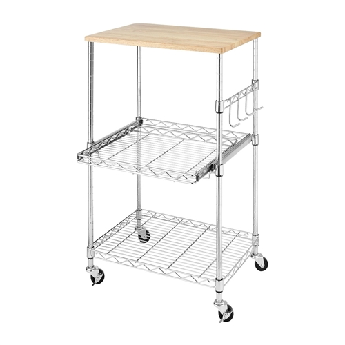This Sturdy Metal Kitchen Microwave Cart with Adjustable Shelves and Locking Wheels can be used in many areas of your home and in different ways. It's locking wheels, pull-out shelf and accessory hooks makes this piece versatile and convenient. This rolling microwave cart features a chromed steel frame for stability and durability. Both the pull out second shelf and the lower shelf are adjustable in one inch increments to meet your storage needs. Four hooks are provided to attach to the side of the cart for hanging utensils or other items. The top of this handy Microwave Cart is actually a birch wood cutting board that can be removed and used for food preparation. Easy to assemble and no tools are required.