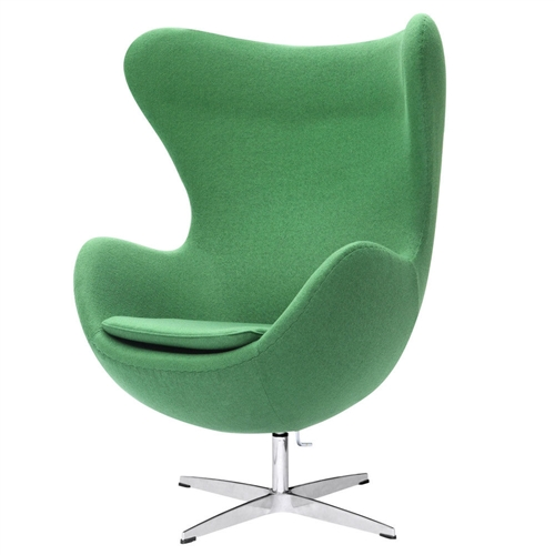 This Green Wool Fabric Upholstered Modern Swivel Living Room Arm Chair features a molded fiber glass frame, fire retardant polyurethane foam padding, and covered with 100% wool fabric. Color may differ slightly from image shown. Chair Design: Arm chair; Seating Firmness: Soft; Upholstered: Yes; Upholstery Material: Wool; Pattern: Solid; Frame Material: Other; Tufted Cushions: Yes; Swivel: Yes; Arm Material: Fabric; Arm Type: Round arms; Legs Included: Yes' Country of Manufacture: China.
