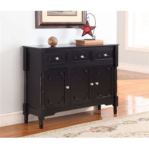 This Solid Wood Black Finish Sideboard Console Table with Storage Drawers is made of solid wood with wood veneer. Table consists of 3 drawers and 3 doors with shelves behind the doors. Features antique brass knobs, turning post/legs with accents on the drawer and door panels. Simple assembly required for this sideboard table. Available in black finish. Features antique brass knobs, turning post/legs with accents on the drawer and door panels.
