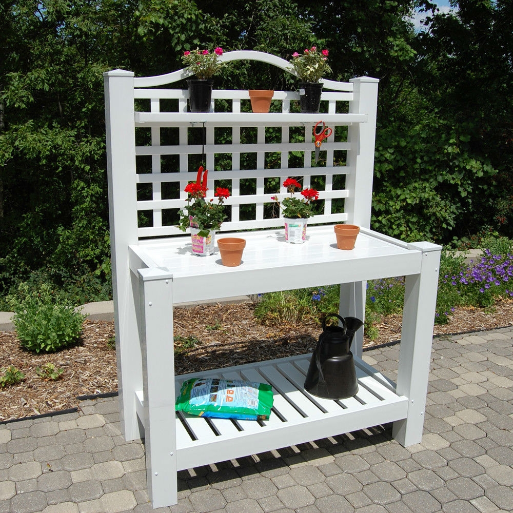 White Vinyl Outdoor Potting Bench with Trellis - Made in USA, DRPB239156 :  This White Vinyl Outdoor Potting Bench with Trellis - Made in USA has scores of uses. A large work space to re-pot plants or start seeds and a shelf to keep things close at hand. This potting bench also makes a seamless transition to hold gifts, guest book, snacks, and beverages. It is easy to clean up after any use by simply rinsing it off with a garden hose. Manufacturer provides 20 year warranty; Country of Manufacture: United States.