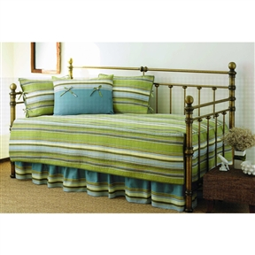 This Green Stripe 5-Piece Daybed Cover & Bedding Set includes a quilted daybed cover with binding on the edges, and 3 tailored standard shams and a stripe print bedskirt. This ensemble will update any room instantly.