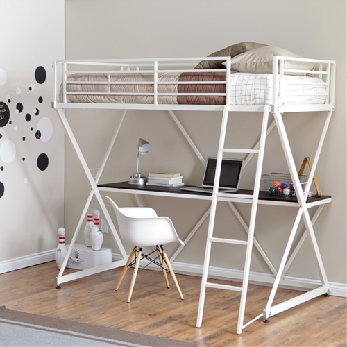 This Modern Twin size Bunk Bed Loft with Desk in White Metal Finish is perfect for a dorm room, an older child's room, or any other bedroom where you're looking to maximize your space. This loft bed fits a twin mattress and includes safety rails and a removable ladder. The space underneath is used to incorporate a desk, giving you two of your most important functions in a single space. The metal frame has a glossy white finish and a unique crossed design that looks great anywhere.