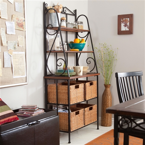 Country charm with a healthy dose of urban chic makes this Durable Metal and Wood Bakers Rack with Classic Wicker Basket Storage a good choice for nearly any kitchen or dining space. Supported by a sturdy metal frame with bold scroll accents, this rack has a classic black finish that will never go out of style. Three shelves, ascending in size, are easy to maintain and ideal for storing dishes, cookbooks, cooking utensils and more. For the items you'd rather not have in sight, the four wicker baskets will come in handy for quick clean ups.