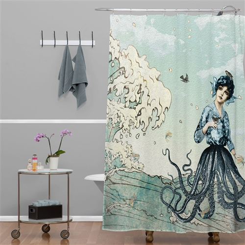 Nautical Fairy Mermaid Octopus Great Wave Shower Curtain - Made in USA, GCB5198451 : Voyage to the exotic underworld of the mermaids from the Caribbean Islands with this Nautical Fairy Mermaid Octopus Great Wave Shower Curtain - Made in USA. A striking and visually appealing design, the shower curtain will appeal to the fairytale lover in you. Designed with contemporary and novelty accents, the shower curtain is sure to add a dash of charm to the interiors of your bathroom. Crafted entirely out of polyester, the shower curtain captures the essence of nautical-themed accessories. The top and base are made out of a woven polyester curtain with hook holes ensuring the lasting stay of the shower curtain in your bathroom. Featuring hauntingly beautiful graphics with sea related motifs, the shower curtain is an ocean-inspired accessory. With stitched reinforced hook holes and reinforced top hem, the shower curtain will enhance any bathroom with elegance. Sporting a vivid blue and white color palette, the shower curtain will complement the decor of any bathroom it is placed in. A topstitched design, the shower curtain will help you enjoy your long showers with ease. This Nautical Fairy Mermaid Octopus Great Wave Shower Curtain - Made in USA features mold and fade resistant features, making it the perfect companion for your bathroom. Made in the USA, the shower curtain is machine washable and eco-friendly. Water Repellent: Yes; Mildew Resistant: Yes; Number of Hook Holes: 12; Stitch Reinforced Hook Holes: Yes; Washing Care: Machine wash.