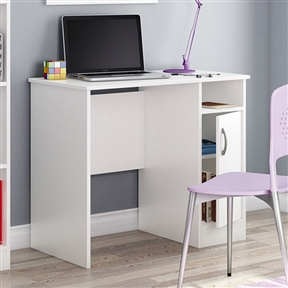 This White Computer Desk - Great for Small Home Office Space is a stylish way to tidy up your home office. This desk has clean lines, lots of storage options, and is small enough to fit into tight spaces. It's made of durable laminate with a pure white finish. It offers a generous work surface, open storage space, and a cupboard door that opens to reveal an adjustable shelf behind it.