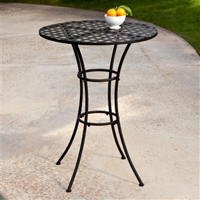 Black Wrought Iron Outdoor Bistro Patio Table with Timeless Round Tabletop, SWM519814 :  This Black Wrought Iron Outdoor Bistro Patio Table with Timeless Round Tabletop is made of the most popular fabric, finish and seating configurations are shown here, but if you don't see one that speaks to you, a product specialist will help you create the perfect set. They can also help you design a custom seating arrangement for your outdoor living space. Traditional woven pattern on round tabletop; Seating 2 - 3 Person; Shape Round; Style Poolside Tables, Bistro; Table Finish Black; Table Top Material Wrought Iron.