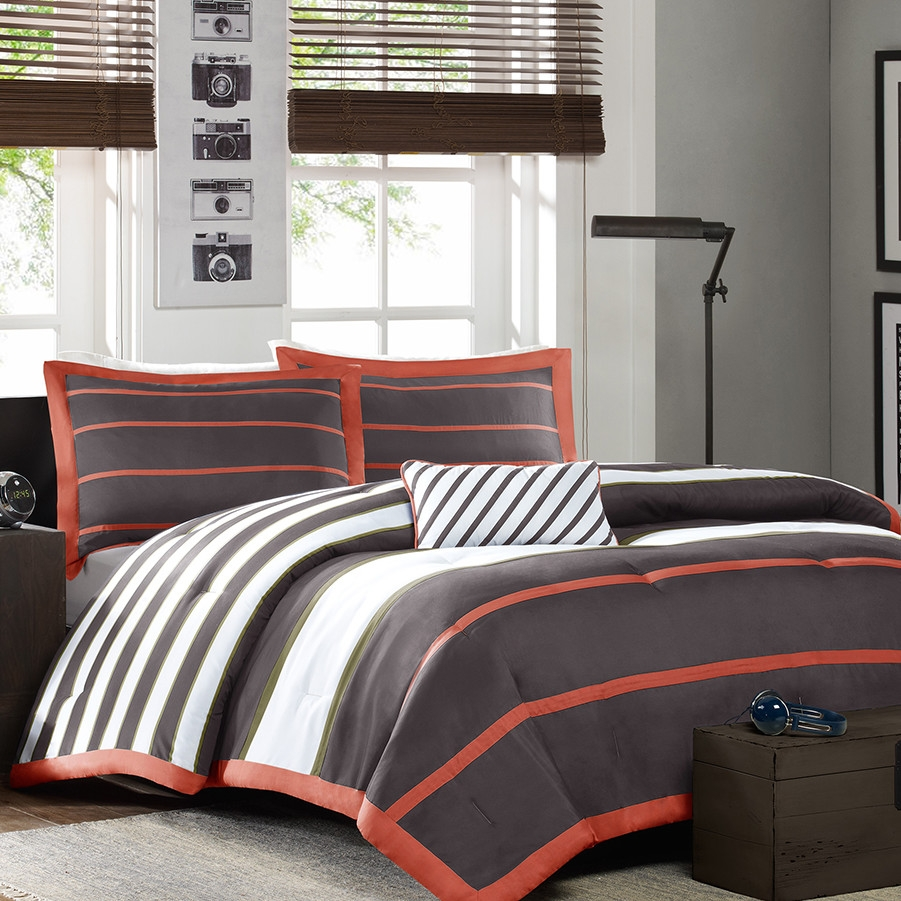 This Twin / Twin XL Comforter Set in Dark Gray Orange White Stripes would be a great addition to your home. It has a 100% polyester fill material. Pattern: Striped; Duvet Cover Included: No; Duvet or Comforter Material: Polyester; Duvet or Comforter Fill Material: Polyester/Polyfill; Duvet or Comforter Pattern: Striped. Cleaning Method: Machine washable; Drying Method: Tumble dry; Country of Manufacture: China; Shams Included (Full / Queen Size): Yes; Shams Included (Twin / Twin Extra Long Size): Yes.