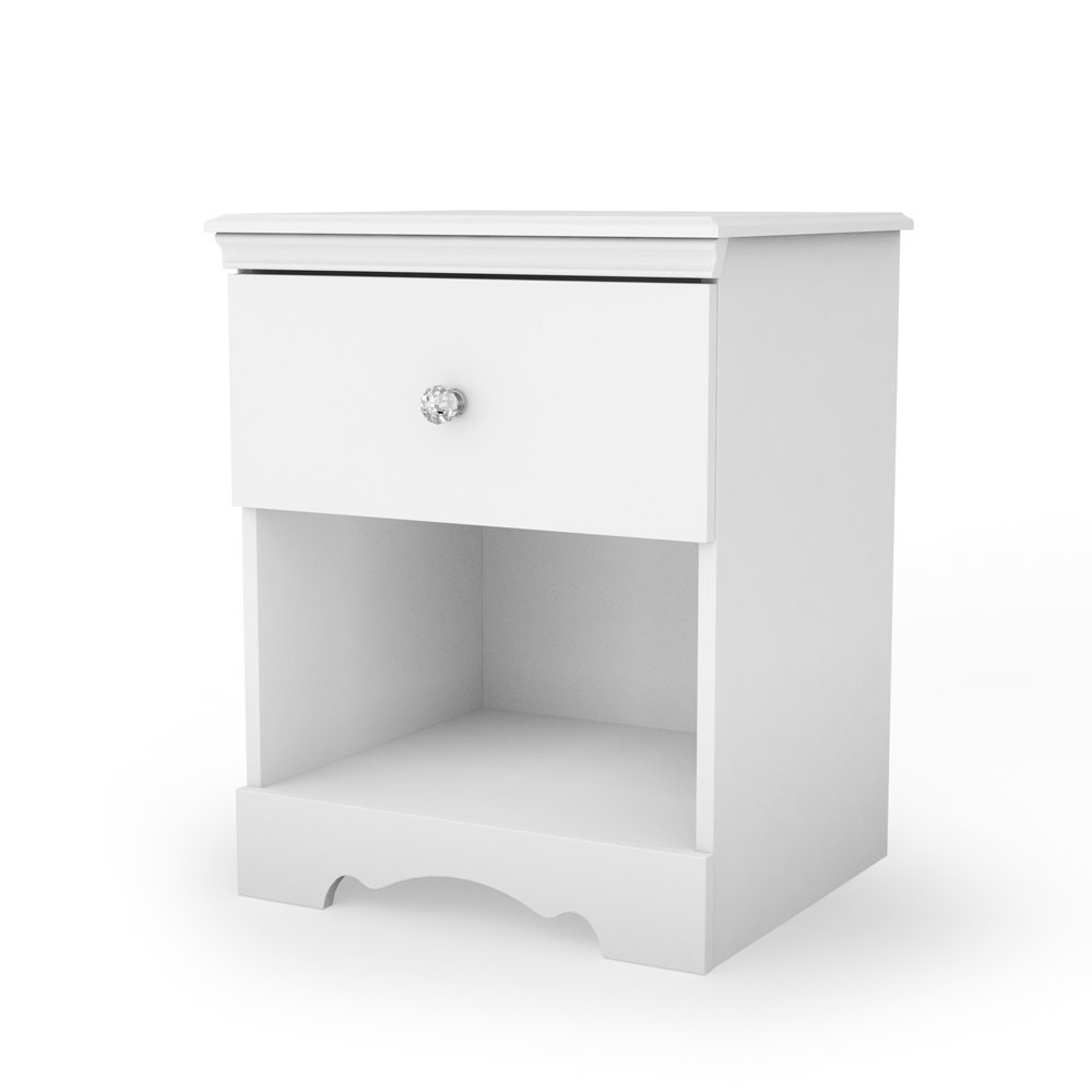 This Eco-Friendly White Nightstand with Drawer and Open Shelf is well adapted to today's needs with easy access storage solution, chic clear crystal knobs, and decorative kickplate. Drawer pulls with a clear crystal knob; Child-friendly drawer catch; Rounded top corners for added safety.