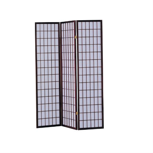 3-Panel Room Divider Asian Style Privacy Screen in Cherry Wood Finish, ANWS49723 :  This 3-Panel Room Divider Asian Style Privacy Screen in Cherry Wood Finish is a simple and elegant way to divide a room. This item is made of quality and structure for you to enjoy it for years to come. This beautiful screen is perfect for your home. It will draw plenty of wanted attention to your living space while creating the desired separation that you crave. Define space and create privacy with this 3-Panel Wooden Screen Screen. Available in 3 finish; black, cherry and natural. Make this item part of your home decor today!