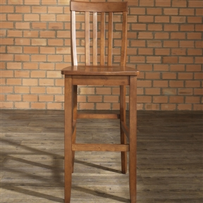 """Add functionality to your table, bar or kitchen island with one of these Set of 2 - Solid Hardwood 30-inch BarStool in Classic Cherry Finish Wood. These seating solutions are deceptively simple yet smartly designed with maximum comfort in mind. Clean lines marry with solid construction featuring a contoured seat that comforts while facilitating correct posture. Small enough to tuck away nicely, yet stately enough to hold its own presence in any setting, stools pair nicely with a piece from the dining collection or yours. ISTA 3A certified; Solid hardwood construction; Manufacturer provides a 3 month warranty against defects in material and workmanship; Style: Mission/Shaker; Seat Height Type: Bar (28""""-33""""); Leg/Base Type: 4 legs; Footrest Included: Yes; Country of Manufacture: Viet Nam."""