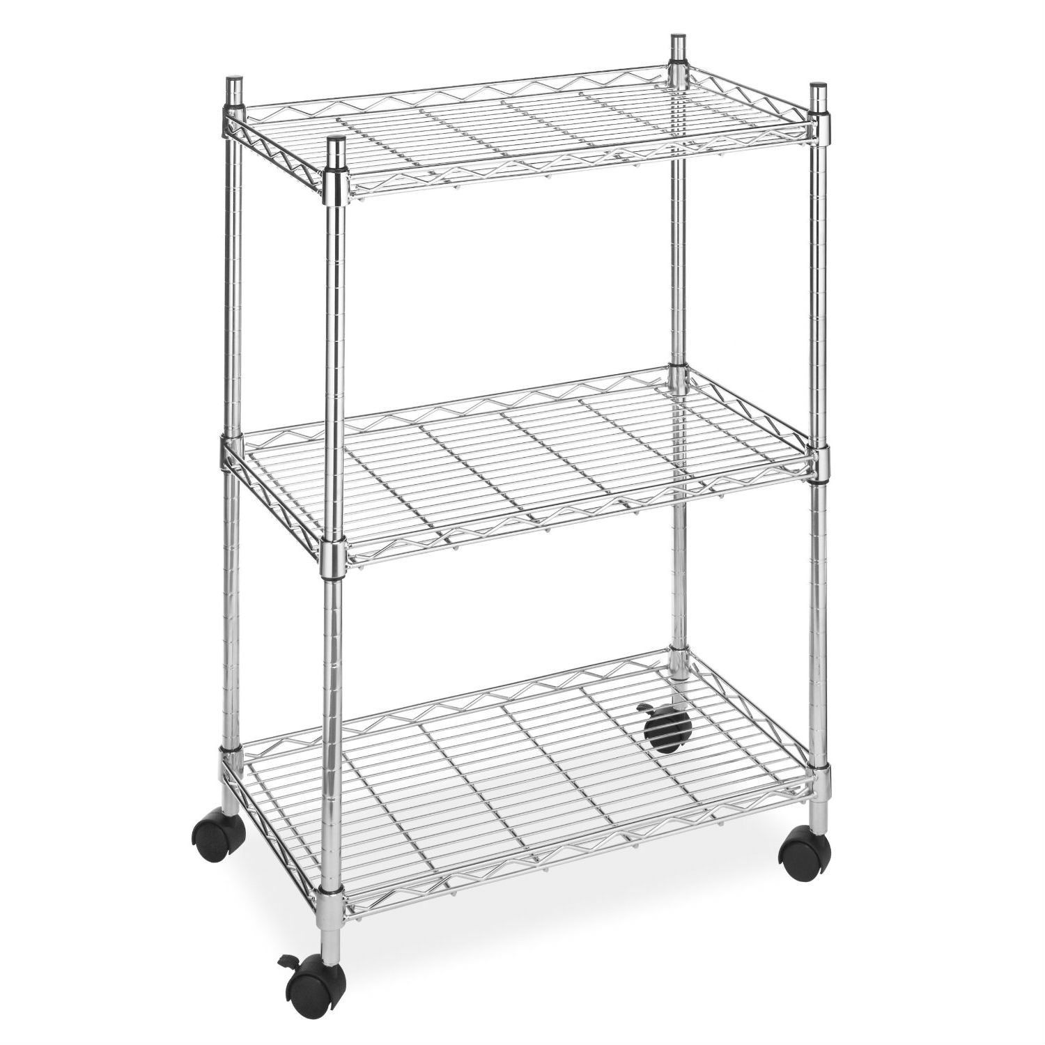 "This 3-Tier Metal Cart on Wheels for Kitchen Microwave Bathroom Garage is a handy helper almost anywhere in your house. Use it in your kitchen for serving meals or for storing your mixer, bread machine and pots and pans. It holds computer equipment in the office, towels in the bathroom or tools in the garage. Made of heavy-duty chrome-plated steel, this cart can hold up to 250 lbs. It's very stable and built to last, and it has 3 shelves with raised sides to prevent items from rolling off. Includes rolling casters. Imported. 33-1/2Hx22-1/2Wx13-1/4D""."