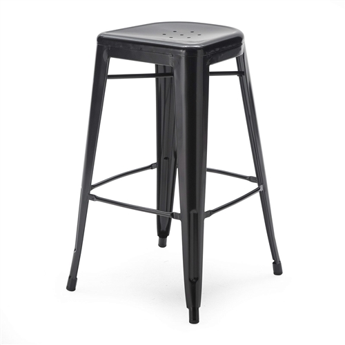 Dress up your counter or bar with this Set of 2 Bar Stools - Modern 30-inch Black Metal Barstools. These handsome stools feature a black powder-coat finish with a welded construction that makes them stylishly functional. Rubber feet offer comfort and floor protection while seat holes keep things aerated. Strong yet lightweight, each stool has leg braces for easy positioning. Choose from two sizes to match your setting.