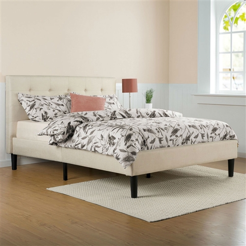 This stunning Queen size Taupe Beige Upholstered Platform Bed Frame with Headboard will transform your bedroom. It ships in one carton with the frame, legs and wooden slats conveniently located in the zippered compartment in the back of the headboard for easy assembly. This contemporary upholstered (enter size) platform bed features a square stitched headboard and low profile footboard style frame, with wood slats and exposed feet for support. The dark gray upholstery looks luxurious and this platform bed makes an excellent addition to any bedroom. Easy to assemble; Mattress not included; Does NOT contain any latex.