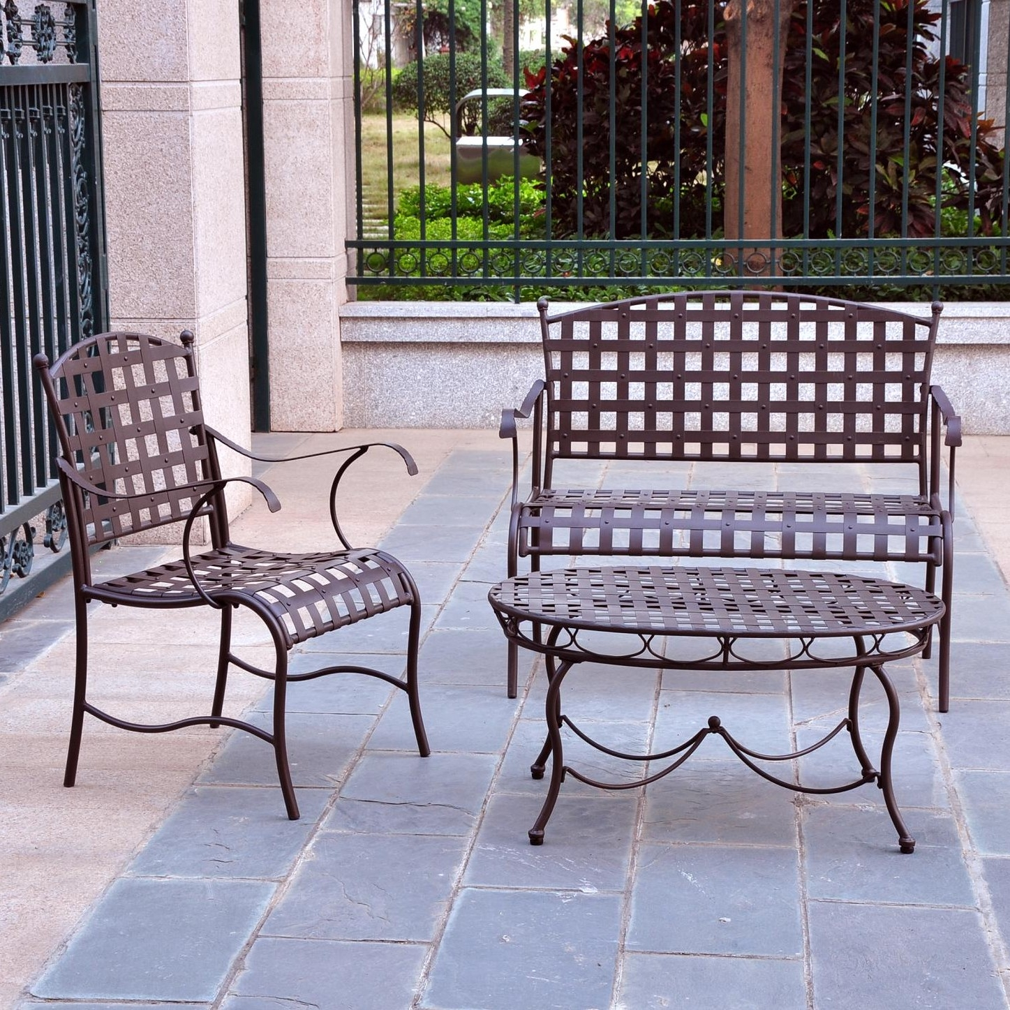 3-Piece Wrought Iron Patio Furniture Lounge Seating Group Set, IC3PF30429 :  This 3-Piece Wrought Iron Patio Furniture Lounge Seating Group Set would be a great addition to your home. Set includes a loveseat, a deep seat iron chair and a low profile table. Made from premium double powder coated wrought iron; All weather resistant; UV light fading protection; Distressed brown matte finish; Woven: Yes; Frame Finish: Brown; Powder Coated Finish: Yes; UV Resistant: Yes; Rust Resistant: Yes; Cushions Available: No; Cushions Included: No; Arms Included: Yes; Seating Design: Lounge; Style: Traditional.