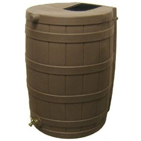 50-Gallon Rain Wizard Rain Barrel in Oak, RWO50GRB10199 :  This 50-Gallon Rain Wizard Rain Barrel in Oak can collect and store up to 50 gallons of this precious rainwater resource and it will help you save money! The oak colored barrel is made from ultraviolet resistant polyethylene. It is resistant to rust, mold, and rotting and features a brass spigot for easy hose hookup. There's even a debris and bug screen to keep your water clean! The Rain Wizard 50 is designed to be child and pet safe - there are no large openings for kids or pets to fall into and the barrel is overflow equipped. You can link your Rain Wizard 50 with other Rain Wizard 50s for greater capacity made easy! The barrel is made in the U.S.A., weighs 19-pounds (empty), and measures 31-inches tall x 23-inches wide.