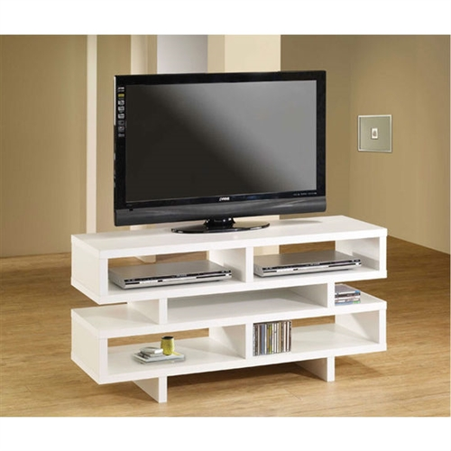 Amplify the beauty of your living room by decorating it with this Modern Style Living Room TV Stand in White Wood Finish. It successfully gives your place an elegant and organized look. The amount of sophistication this piece of furniture would bring into your apartment has no bounds. This TV stand will add to the glory of your living room by accentuating it with simplicity and elegance. This simple yet graceful white television platform will stand out in the crowd and serve you the dual purpose of making your apartment look chic as well as organized. The five open shelves in this stand are very useful for the storage of books, DVDs, remote controls, and other electronic accessories you might need from time to time. This piece of furniture is lightweight, which makes it very convenient for you to move around. The separated compartments account for plenty of space, wherein you can even store your media player making the stand a complete hub for your entertainment or a fantastic piece to show off when guests arrive. Crafted beautifully out of wood, this piece is strong and highly durable. It requires light assembly on arrival and can be put together with much ease. It is also easy to clean and requires occasional dusting to staying spick and span.
