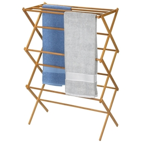 Folding Laundry Clothes Drying Rack in Bamboo Wood, BFDR358169 :  This Folding Laundry Clothes Drying Rack in Bamboo Wood is a gorgeous upscale design for laundry products. Bamboo is sustainable and renewable resource that is designed with a modern and elegant look to co-ordinate with any décor. This bamboo drying rack features 11 drying rods and provides up to 25-feet of energy saving drying space. It folds for easy storage when not in use. No assembly is required. The setup dimensions are 42.125-Inch high by 29-Inch wide by 14.125-Inch deep.
