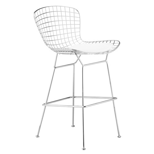 This Wire Bar Height Modern Chair with Vinyl Seat Pad has steel wire mesh and chrome feet. The Wire stool chair has a choice of Black Leather seat.