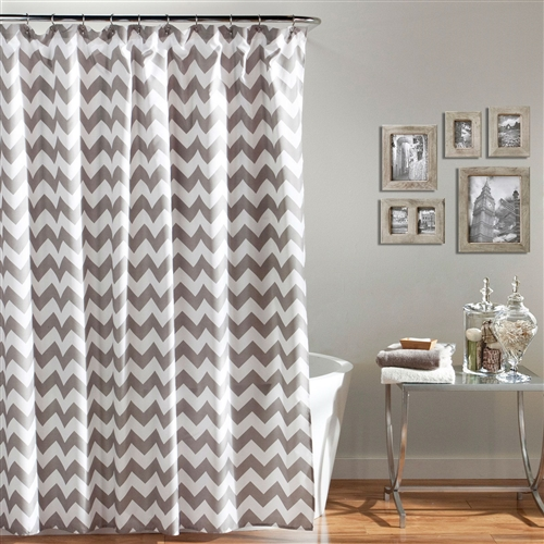 Grey and White Chevron Polyester Fabric Shower Curtain 72 x 72 inch, PSC519815 : A sophisticated gray and white chevron make this Grey and White Chevron Polyester Fabric Shower Curtain 72 x 72 inch a quick way to revamp your bathroom. Machine wash this polyester shower curtain in cold water on the gentle cycle using non-chlorine bleach when needed. Tumble dry on low and use a cool iron if needed. Tumble dry on low, cool iron if needed; Care Instructions Machine Washable; Color White, Gray; Length 72 in. Material 100% Polyester; Style Patterns/Prints; Type Standard.