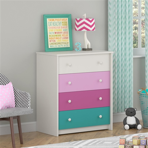 This Kids Girls Bedroom 4-Drawer Dresser in White Pink Raspberry Turquoise features a white stipple, urban pink, raspberry and turquoise drawer to fit in with your child's style. Assembly Required: Yes; Frame Material: Manufactured wood; Product Type: Standard dresser (horizontal); Drawer Interior Finish: Birch.