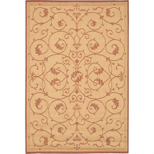 7'6 x 10'9 Large Area Rug with Floral Vine Leaves Pattern in Terracotta, CTN1991:  This 7'6 x 10'9 Large Area Rug with Floral Vine Leaves Pattern in Terracotta would be a great addition to your home. It is made of polypropylene material and is machine made. Rug pad is recommended under all rugs to avoid skidding; Recommended Care: Due to the handmade nature of the rugs, colors and sizes will vary slightly; Construction: Machine Made; Technique: Machine Woven; Primary Pattern: Floral And Plants; Primary Color: Natural; Border Material: Synthetic; Border Color: Natural. Reversible: No; Rug Pad Needed: Yes; Water Resistant: Yes; Mildew Resistant: Yes; Eco-Friendly: No; Country of Manufacture: Belgium; Product Warranty: 1 year limited warranty.
