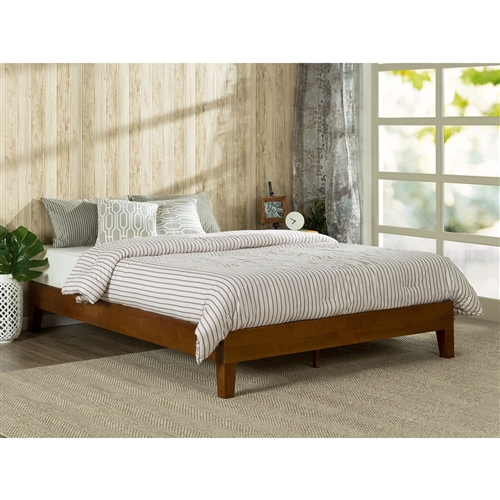 This Full size Low Profile Platform Bed Frame in Cherry Wood Finish is beautifully simple and works well with any style of home décor. the 5.75 inch frame and legs are made of rubber wood to support your memory foam, latex, or spring mattress. The Full size Low Profile Platform Bed Frame in Cherry Wood Finish is 12 inches high and designed for use with or without a box spring foundation. stylish and strong support for your mattress at an affordable price.