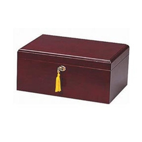 75-100 Cigar Humidor in Cherry Finish, AIMCHC7233 :  This 75-100 Cigar Humidor in Cherry Finish available in two select finishes: Rosewood and Cherry. Opens and closes smoothly on hidden quadrant hinges. Features gold plated lock and key with tassel, engraveable brass nameplate. Sureseal technology insures proper lid seal on closure; Spanish cedar tray with divider, 2 dividers at bottom; Also lined with premium kiln dried Spanish cedar; Gold plated lock and key with tassel and hidden quadrant hinges.