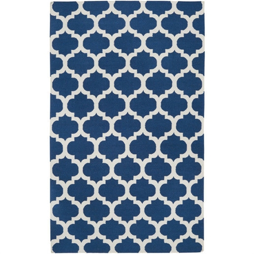 "3'6"" x 5'6"" Blue White Trellis Area Rug in Premium Flat Woven Wool Handmade, FGHCI98756515:  This 3'6"" x 5'6"" Blue White Trellis Area Rug in Premium Flat Woven Wool Handmade is a simple yet charming option to enhance the aura of your living room, dinette, or bedroom. Handmade from premium-quality wool, this area rug is flat-woven for unmatched sturdiness and durability. It has a blue-colored background, which is further revved up by beautiful geometric patterns in white. This rug is available in an array of sizes, which can be chosen to suit the floor area of your room. Low on maintenance, it requires to be frequently vacuumed to keep away dirt and dust. Primary Pattern: Geometric; Outdoor Use: No; Country of Manufacture: India."