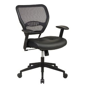 This Air Grid Mesh Back Managers Office Chair with Black Leather Seat would be a great addition to your home. Also,  it is a Professional Air Grid Back Managers Chair with Leather Seat and 2-to-1 Synchro Tilt Control. Height Adjustable Angled Arms with Soft PU Pads; Heavy Duty Angled Nylon Base with Oversized Dual Wheel Carpet Casters; 5700 Color Black; Material Type PlasticMesh; Size Mid-Back.