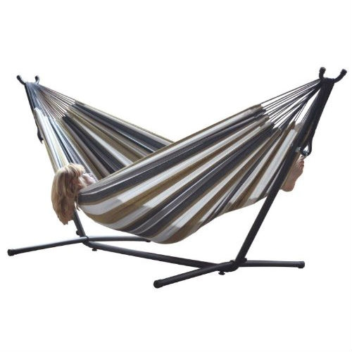 Desert Moon Pattern Cotton Hammock with 9-FT Steel Stand, VDHDM12997 :  A top choice for couples lounging, this Desert Moon Pattern Cotton Hammock with 9-FT Steel Stand comes with a space-saving steel stand and a double hammock in your choice of cotton or Sunbrella fabric. You'll enjoy the freedom that the space-saving 9-foot stand provides by allowing you to set up your hammock in the most convenient location -- no longer having rely on tying your hammock to two trees. And both the Sunbrella and cotton hammocks accommodate two adults. The well-designed heavy duty steel stand gives you a sense of security to enjoy your slumber, and it's ideal for this non-spreader bar style of hammock. Created for long life and stability, it's made from heavy gauge steel and it easily assembles in minutes -- no tools required. Weighing in at a total of 35 pounds, this entire hammock combo can be easily maneuvered around your backyard or patio. Powder coated in an oil rubbed bronze finish, the stand measures 9 feet in length and all ends are finished with plastic caps. It's also easy to break down for storage or travel, and it comes with its own carrying case.