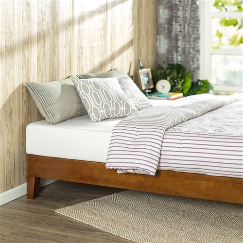 This Twin size Low Profile Wooden Platform Bed Frame in Cherry Finish is beautifully simple and works well with any style of home décor. the 5.75 inch frame and legs are made of rubber wood to support your memory foam, latex, or spring mattress. The Twin size Low Profile Wooden Platform Bed Frame in Cherry Finish is 12 inches high and designed for use with or without a box spring foundation. stylish and strong support for your mattress at an affordable price.
