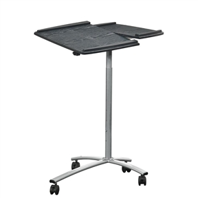 "This Adjustable Laptop Computer Cart Desk Stand in Steel with Espresso Top is your perfect solution for easy mobility, style, and workspace. With features that include a large 31"" work surface, adjustable height mechanism, and a handy side panel for extra work space, this cart is sure to fit the needs of any home office. This laptop cart comes with large, double-wheel, non-marking casters with a locking mechanism, so you don't have to worry about ruining your floors. Easy height adjustment with an easy-pin spring system; Heavy duty 18mm fiberboard for the table top and a 15mm for the other boards and shelves; Ready to assemble."