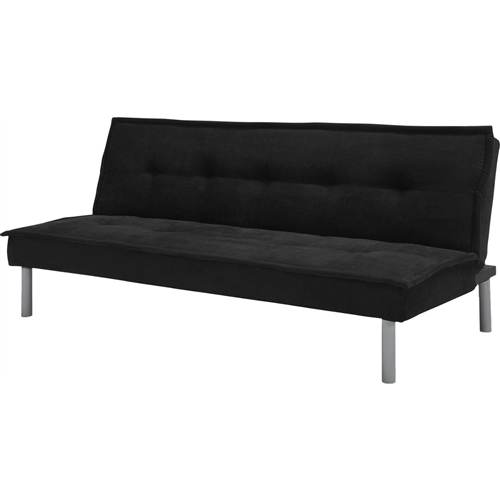 A streamlined profiled accentuated by a lush pillowtop, this Black Microfiber Upholstered Futon Sofa Bed with Metal Legs is casual and comfortable for a relaxed look. Its tufted, microfiber cover and sturdy metal legs will add a sense of glamour to any room. With three positions to choose from - sitting, lounging and sleeping - the Black Microfiber Upholstered Futon Sofa Bed with Metal Legs is a versatile piece that suits a variety of living space needs. Sturdy metal legs; Tufted design for a casual look.