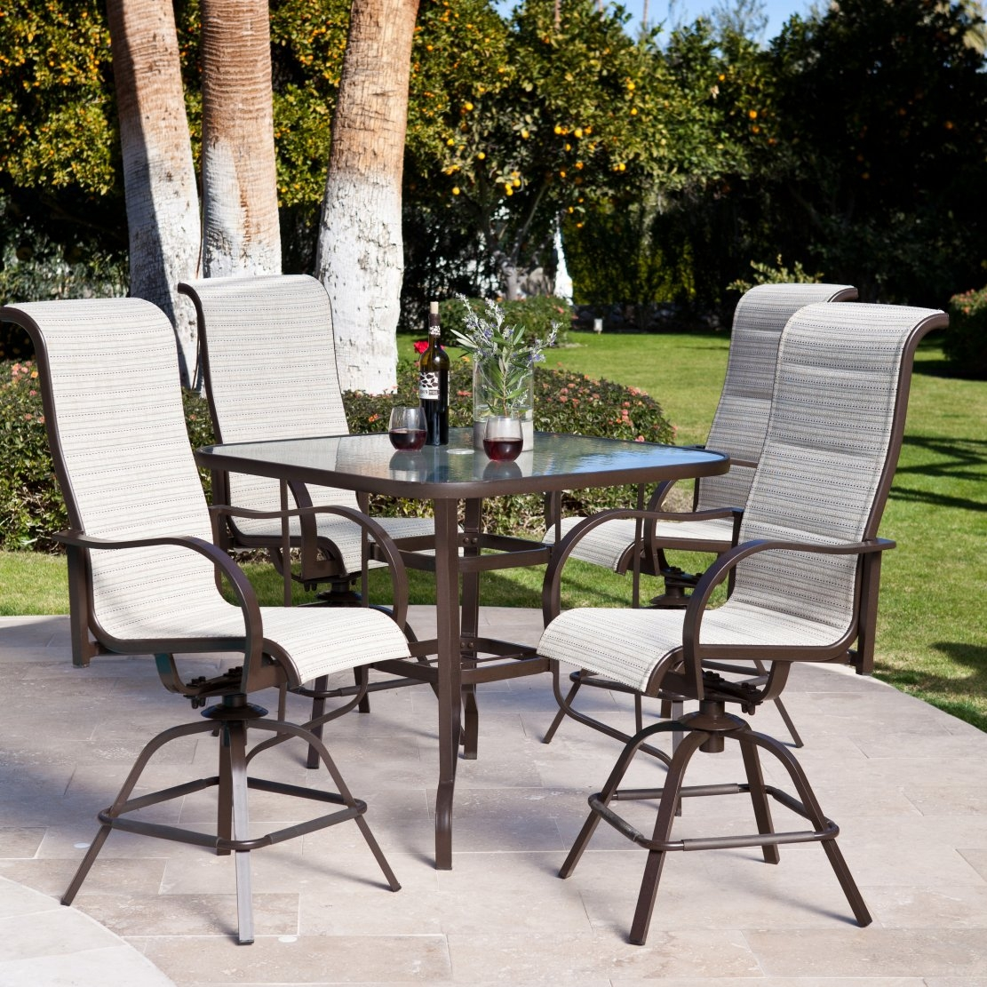 5-Piece Patio Furniture Dining Set with Bar Height Sling Seats, DBHDS949 :  Don't be surprised if your friends start dressing a lot nicer for casual backyard barbecues at your house when you set up this 5-Piece Patio Furniture Dining Set with Bar Height Sling Seats in your outdoor entertaining space. Up to four of your friends will be able to sit for hours in the cozy weather-resistant sling seats that come in a wide selection of colors. The sleek mocha-colored bases on the chairs and table are made of powder-coated aluminum, meaning this beautiful dining set will resist all types of weather conditions. Chair and table frames are all-weather and rust-resistant; Quick-dry fabric makes these chairs perfect for outdoor use; Padded sling seats available in a choice of colors; Comfortably seats up to 4 people.