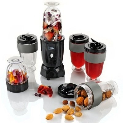 With this 17-Piece Elite 300-Watt Personal Drink Blender Set by MaxiMatic you can Make healthy and delicious drinks such as smoothies, protein shakes, milk shakes and more with elite by Maxi-Matic's 17-piece personal blender. Includes 4 tall-cups with lids and foam grips, 2 blade assemblies, 1 tall blending-cup, 1 small grinding-cup and push button motor base.