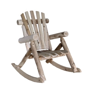 Weather Resistant Cedar Log Rocking Chair - Adirondack Style, LMCRC117 :  This Weather Resistant Cedar Log Rocking Chair - Adirondack Style invites you to grab a glass of iced tea and relax on your porch. It has an appealing design similar to popular Adirondack chairs and, with its wide seat, is more comfortable than your typical cedar chair. Plus, unlike other rockers, the rocking motion of this one is controlled: when your feet stop going, so does the chair. It takes about one hour to assemble with a screwdriver, hammer, and wrenches; we also suggest sanding this piece, especially if you'll be wearing shorts on those hot summer days. Made from a renewable resource and by product of the log home industry; It has curved seat slats for greater comfort; Made in USA; Easy assembly.